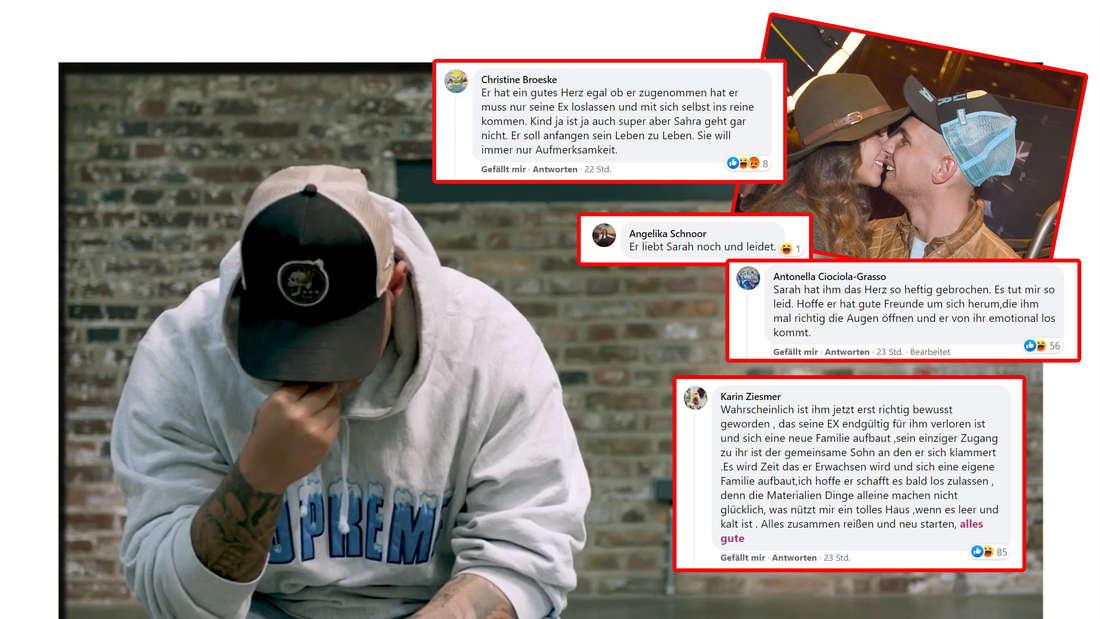 Fotomontage: Pietro Lombardi in seinem Instgagramvideo, er mit Sarah Engels und Screenshots von Facebookkommentaren