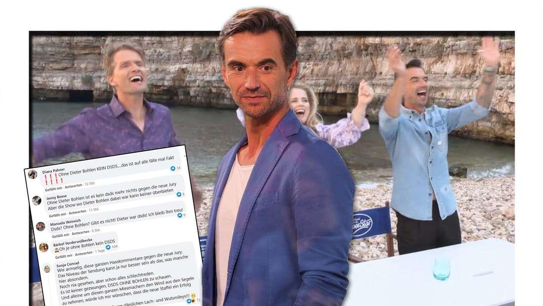 Florian Silbereisen blickt nach unten, im Hintergrund Silbereisen feiert mit Ilse DeLange und Toby Gad, ein Screenshot mit Fan-Kommentaren
