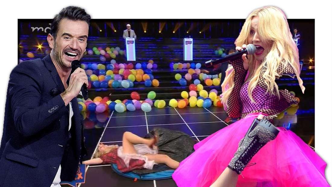 """Florian Silbereisen lacht, Melissa Naschenweng im pinken Kostüm hebt ihr Bein und schaut erschrocken, im Hintergrund Screenshot von der """"schlager oder nix"""""""