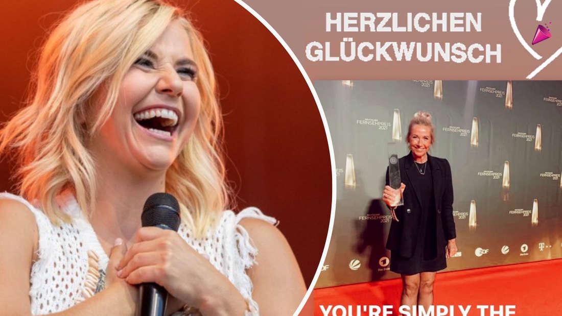 Beatrice Egli beim Konzert am 15.08.2021 in Bonn. Andrea Kiewel gewinnt deutschen Fernsehpreis und Beatrice Egli gratuliert via Instagramstory. (Fotomontage)