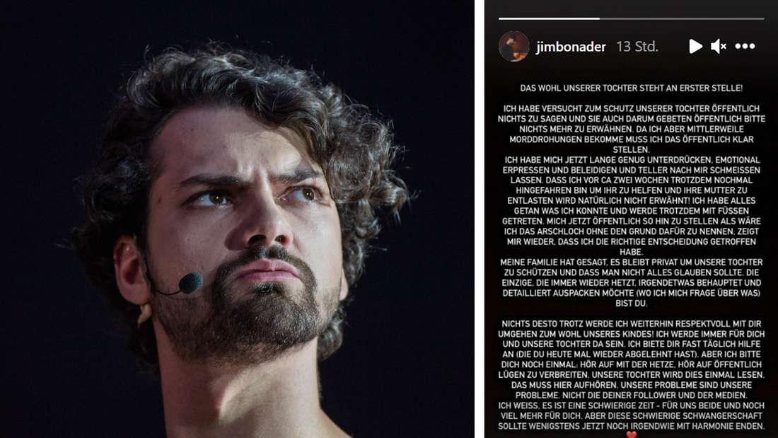 Jimi Blue Ochsenknecht schaut wüntend zur Seite und Instagram Story Screenshot