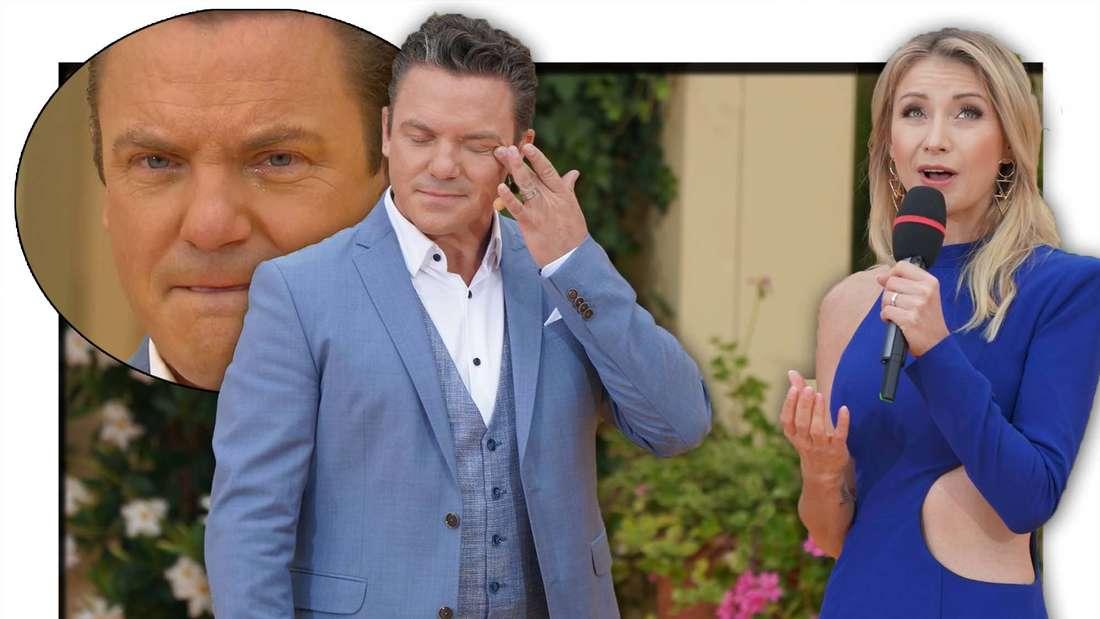 Stefan Mross wischt sich die Tränen weg, Anna-Carina singt im blauen Kleid, links ein Bild von Mross, wie er Tränen in den Augen hat