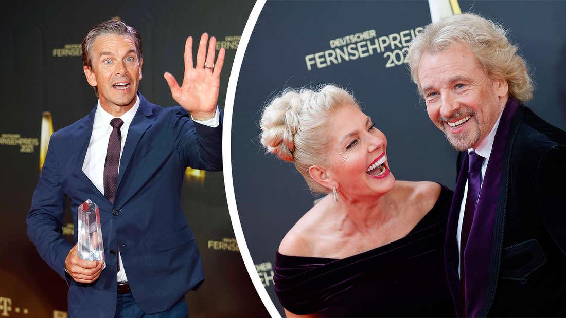 Thomas Gottschalk mit seiner Frau und Markus Lanz bei der Verleihung des deutschen Fernsehpreises.