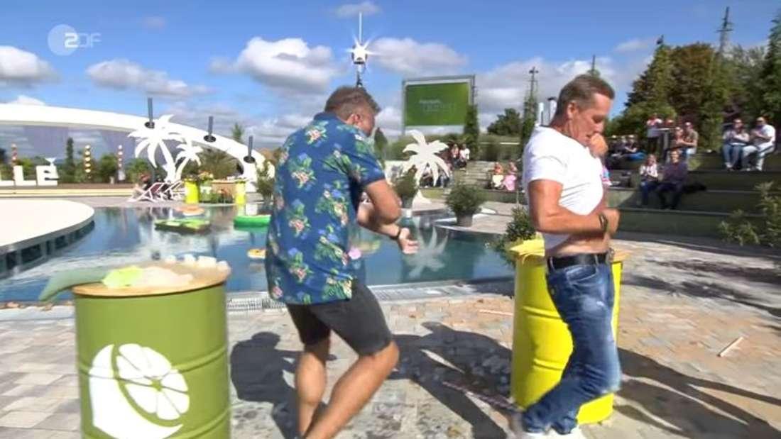 ZDF-Fernsehgarten: Jürgen Milski und Tim Toupet müssen Eisblock mit Körper auftauen