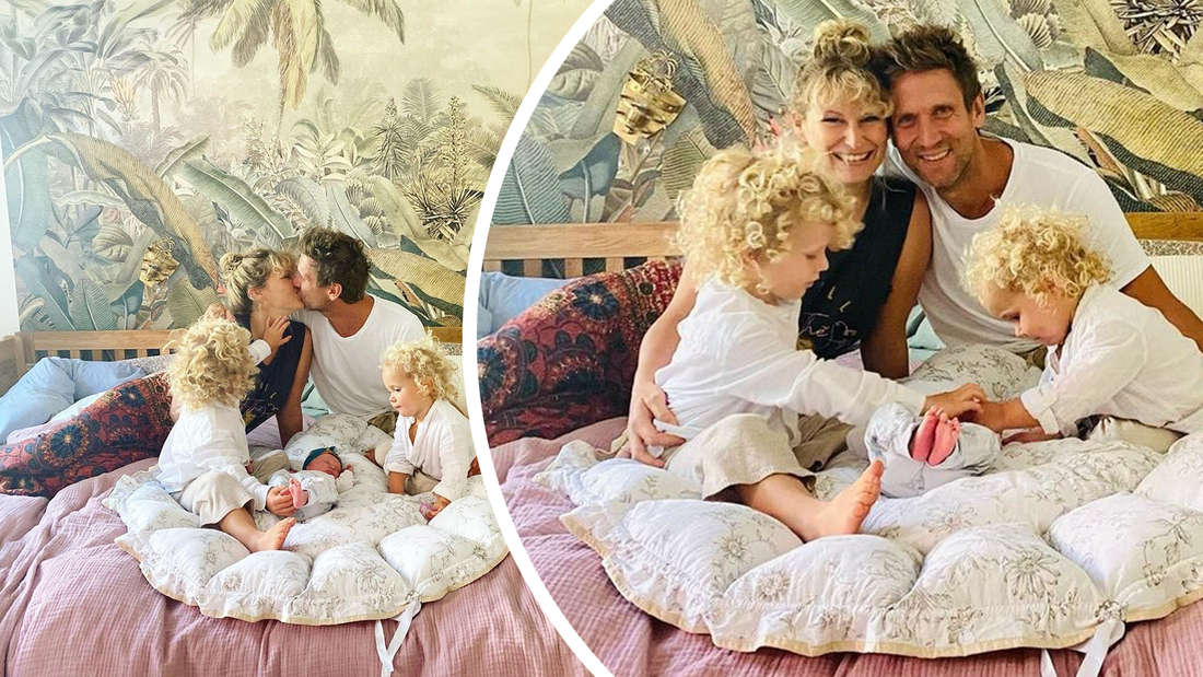 Drei Kinder, Janni und Peer - alle in einem Bett