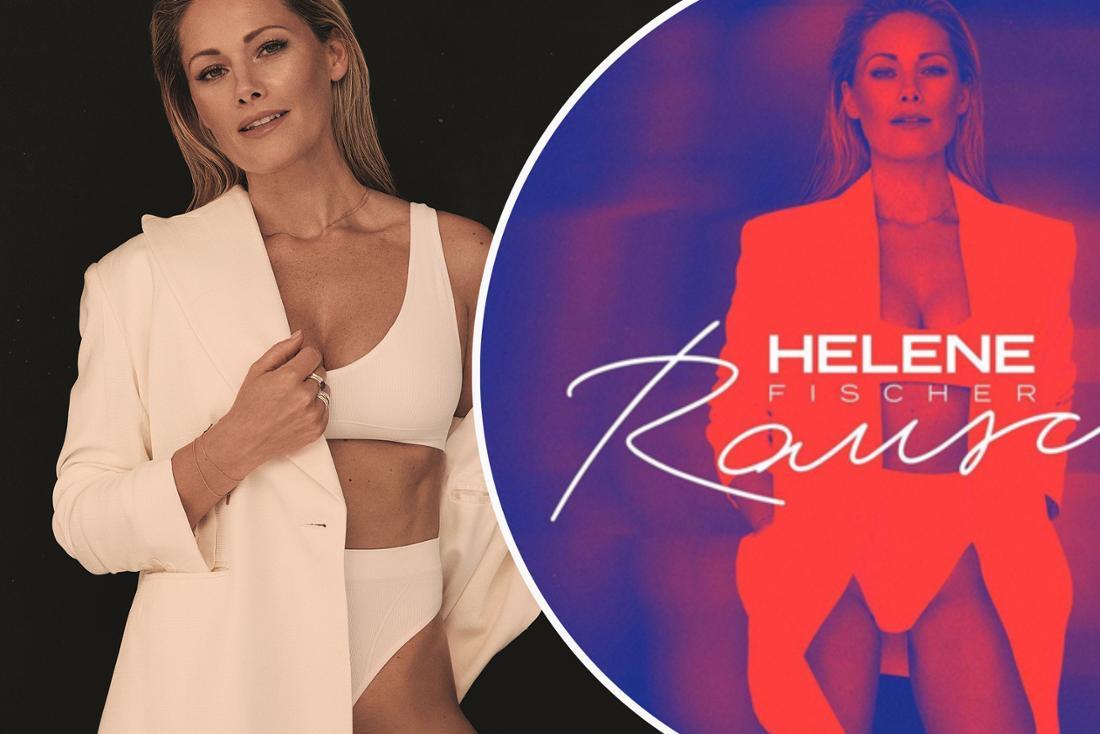 """Albumcover des neues Helene Fischer Albums """"Rausch"""". Pressebild: Helene Fischer im weißen Blazer. (Fotomontage)"""