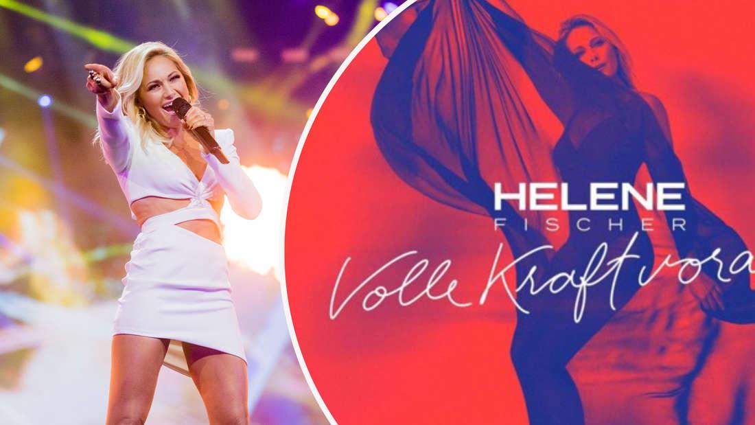 """Helene Fischer steht bei der Aufzeichnung der """"Helene Fischer Show"""" auf der Bühne am 25.12.2018. Das Cover von Helene Fischers Single """"Volle Kraft voraus"""". (Fotomontage)"""
