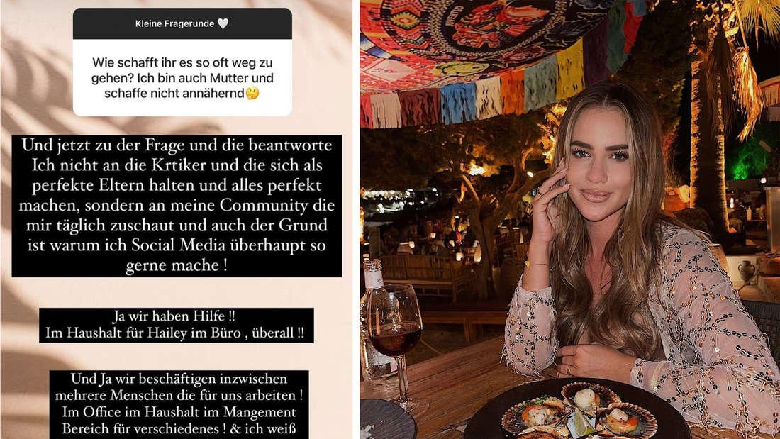 Jessicas Paszkas Instagram Statement, neben einem Bild von ihr