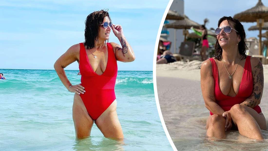 Zwei Bilder von Danni Büchner im roten Badeanzug.