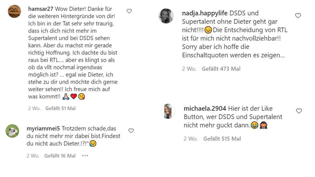 Screenshots von Kommentaren uner Dieter Bohlens Video