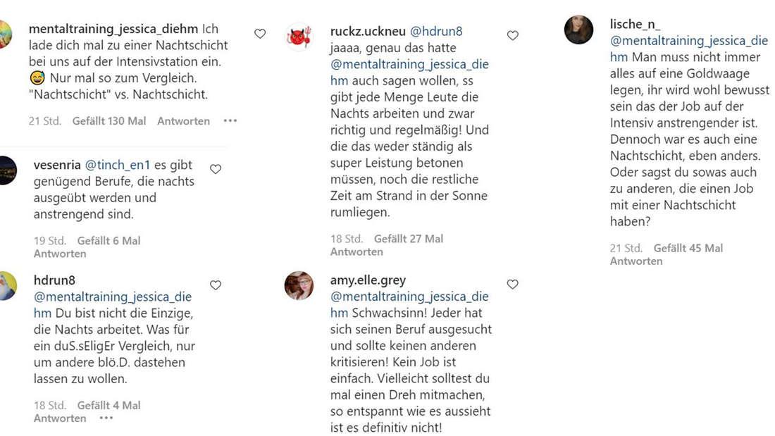 Screenshots von Kommentaren der Fans