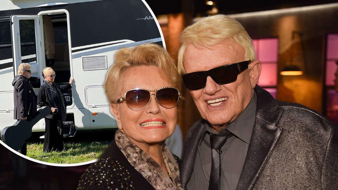Heino mit seiner Ehefrau Hannelore Kramm zu Gast in der WDR Talkshow Kölner Treff am 01.02.2019 in Köln. Heino leiht sich ein Luxus-Wohnmobil von Bayern Caravaning (Fotomontage)