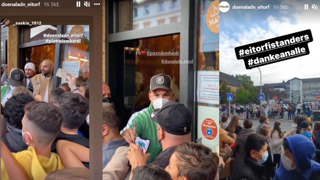 Pietro Lombardi isst Döner im Imbiss: Polizei muss wegen Fanansturm Straße sperren
