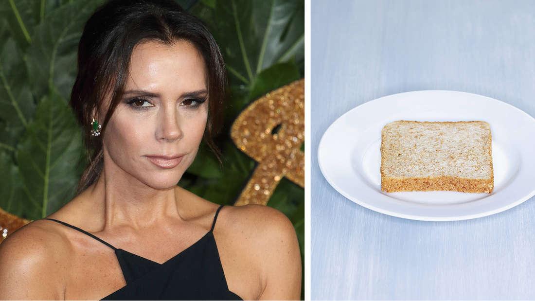 Victoria Beckham neben einer Scheibe Toast.
