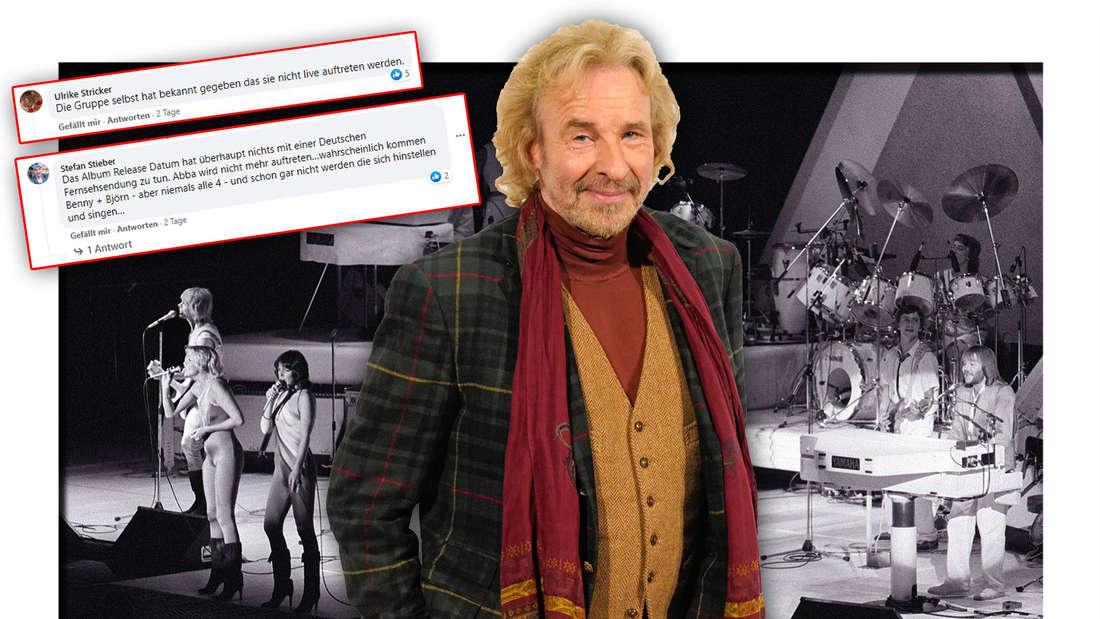Der Moderator Thomas Gottschalk steht vor einem alten Bild der schwedischen Pop-Gruppe ABBA, daneben Leser-Kommentare (Fotomontage)