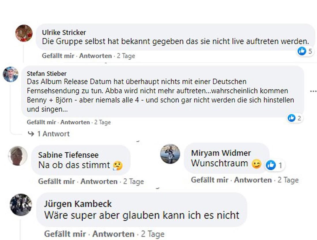 Leserkommentare von Schlager.de bei Facebook