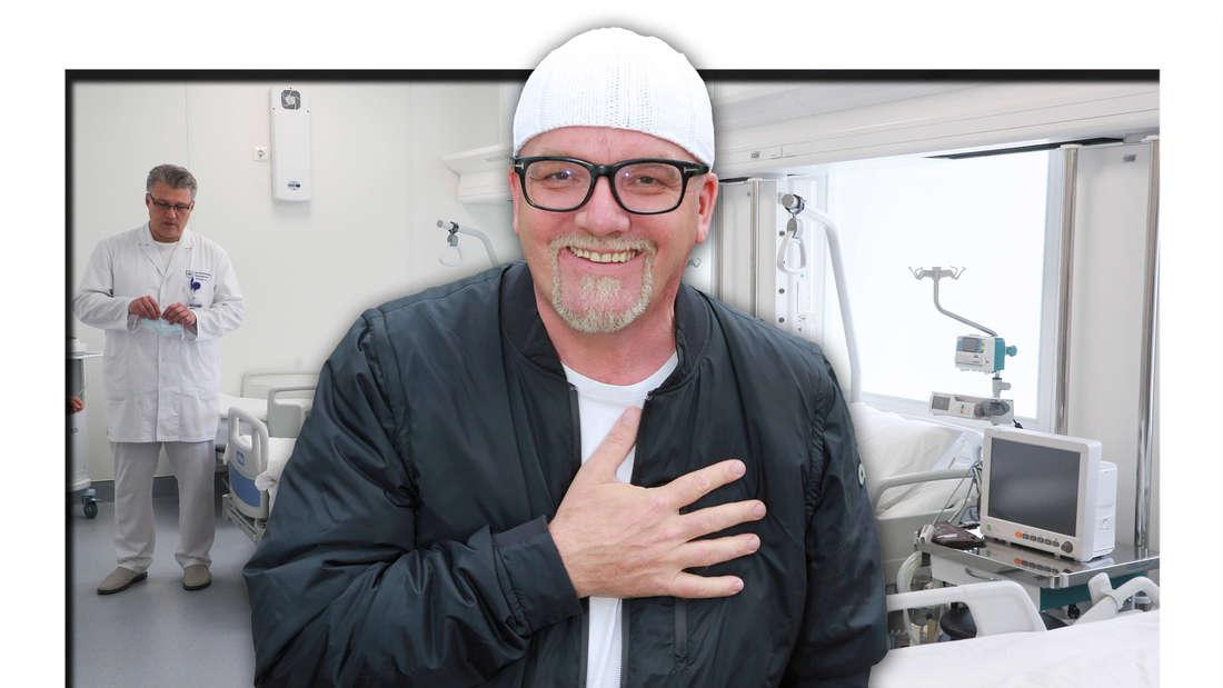 Schlagersänger DJ Ötzi vor Krankenhausbetten (Fotomontage)