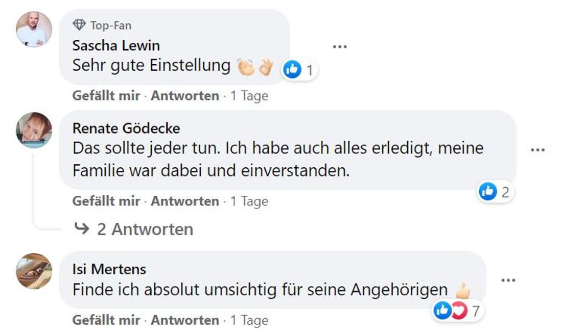 Fan-Kommentare bei Facebook
