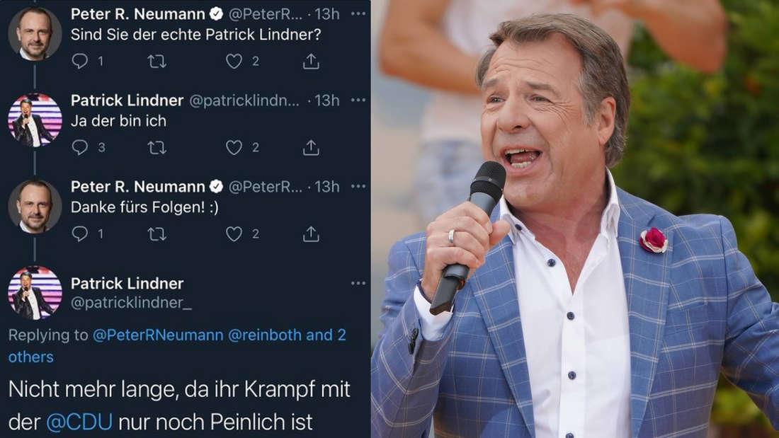 Schlagerstar Patrick Lindner neben einer Twitter-Konversation mit dem CDU-Politiker Peter R. Neumann (Fotomontage)