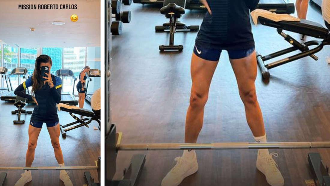 Sophia Thomalla zeigt ihre muskelbepackten Beine im Gym