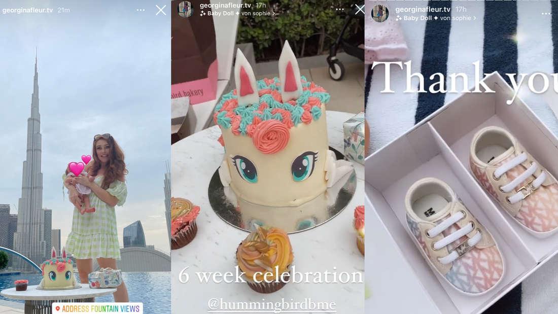 Einhorn-Torte und Luxus-Geschenke: Georgina feiert sechswöchigen Geburtstag ihrer Tochter
