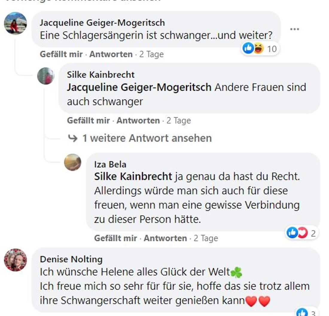 Screenshot Facebook: User diskutieren über Helene Fischers Schwangerschaft