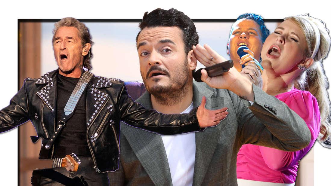 Peter Maffay, Kerstin Ott und Maite Kelly singen. Giovanni Zarrella in der Mitte greif sich mit der Hand ans Ohr