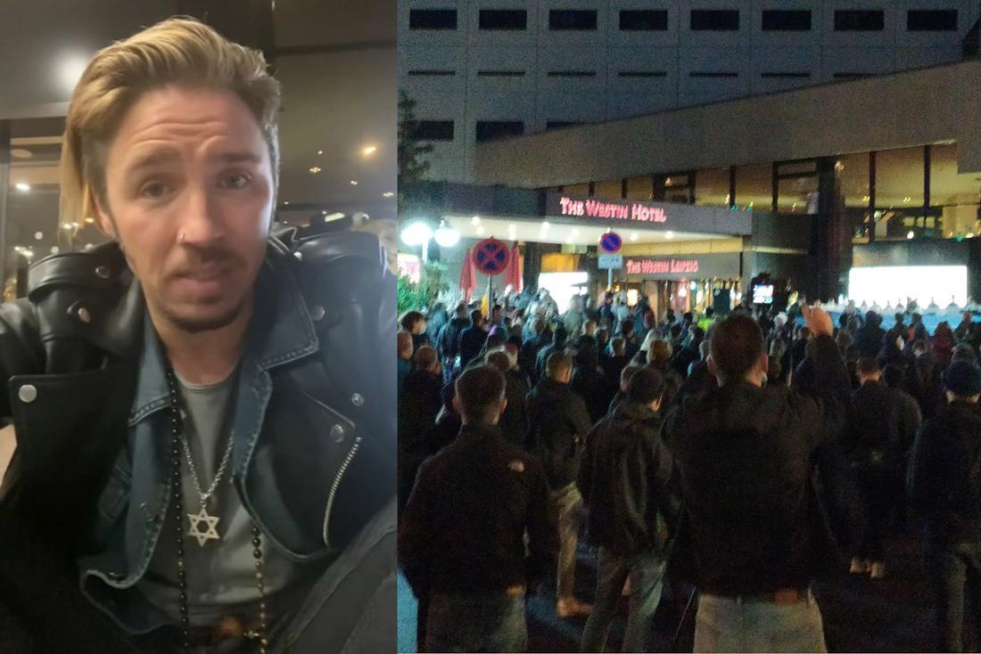 Gil Ofarim spricht in einem Video über einen antisemitischen Vorfall, daneben Personen, die vor dem Hotel demonstrieren