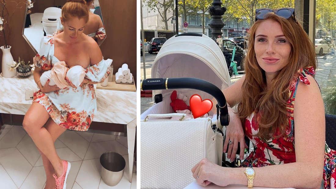Georgina stillt ihr Baby, daneben sitzt sie in einem Café nebem dem Kinderwagen