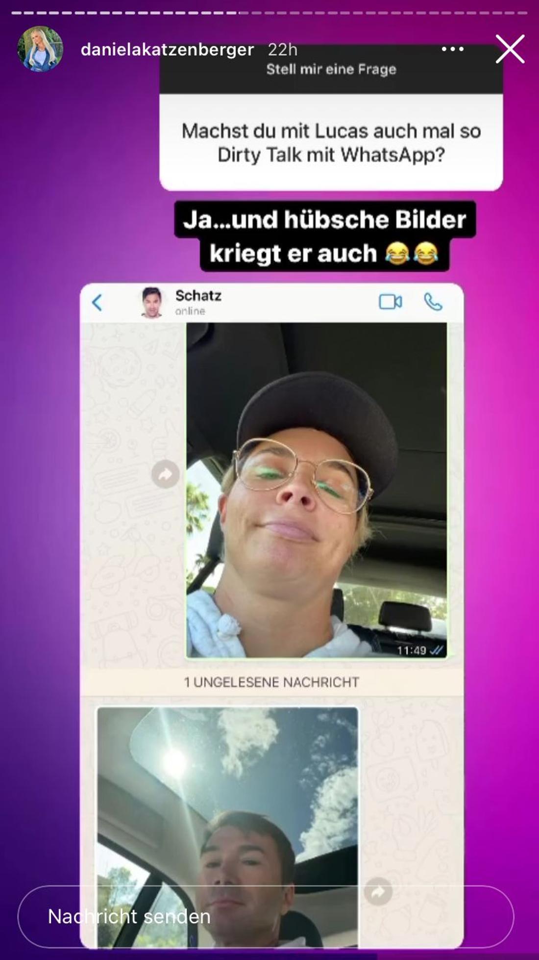 Instagram-Story von Daniela Katzenberger mit Selfie von Lucas Cordalis