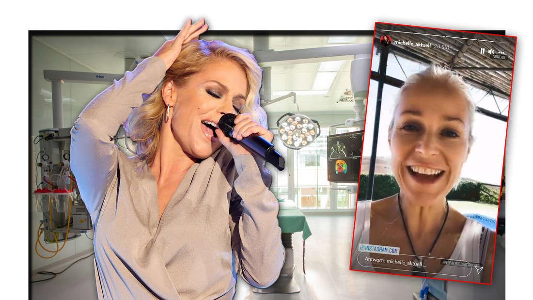 Schlagersängerin Michelle steht vor einem Operationssaal, daneben ein Screenshot ihrer Instagram-Story (Fotomontage)