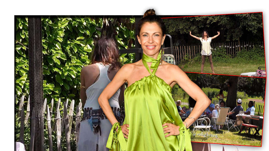 """Die Schauspielerin Jana Pallaske steht neben Ausschnitten aus der vierten Folge von """"Sommerhaus der Stars"""" (Fotomontage)"""
