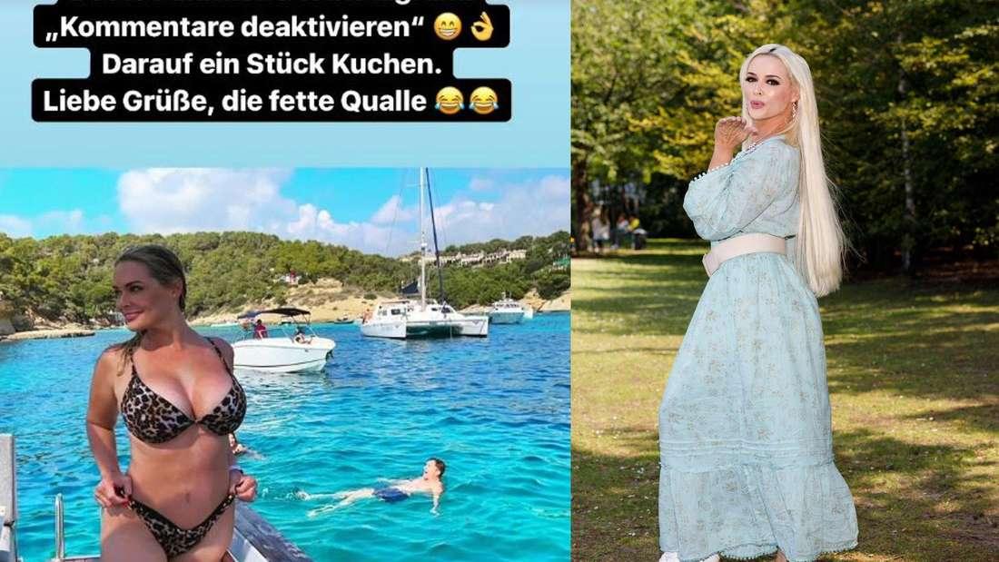 """Goodbye Deutschland""""-Star Daniela Katzenberger im Bikini auf einem Boot, daneben in einem Park (Fotomontage)"""