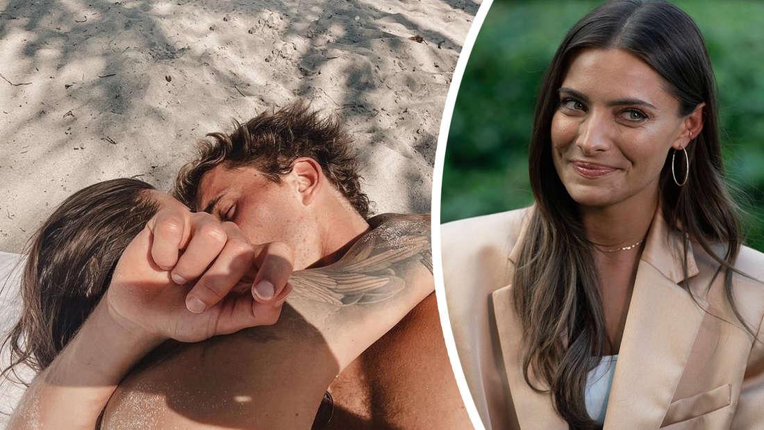 Sophia Thomalla und Alexander Zverev knutschen verliebt am Strand, daneben ein Bild von Sophia allein