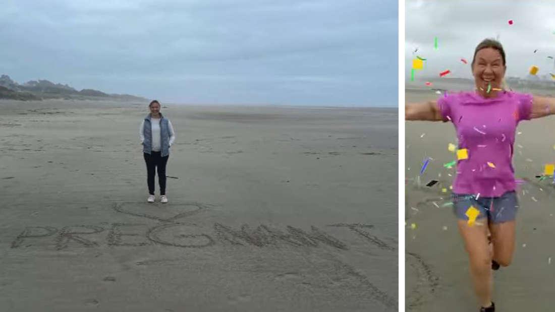 """Links: Janina, im Sand steht """"I'm pregnant"""", rechts rennt Manu auf sie zu"""