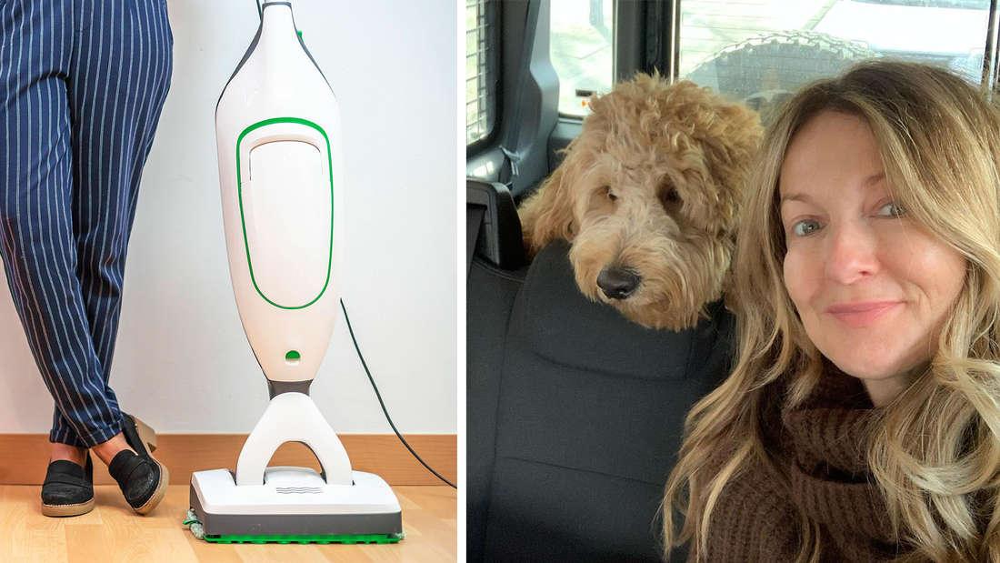 Symbolbild eines Sataubsaugers, daneben Frauke Ludowig mit ihrem Hund.