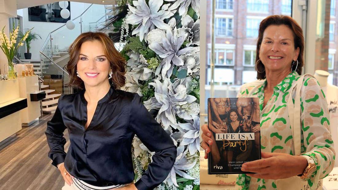 TV-Star Claudia Obert mit ihrem neuen Buch, daneben mit extrem verjüngtem Look auf Instagram (Fotomontage)