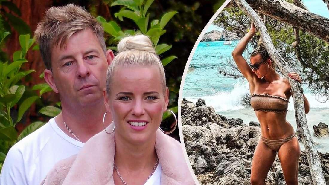 Maritta und ihr Mann Almklausi im Sommerhaus der Stars, daneben sie im Bikini