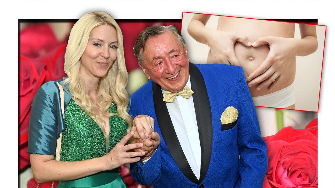Baulöwe Richard Lugner mit seiner Partnerin Simone Reiländer vor roten Rosen, daneben eine schwangere Frau (Fotomontage)