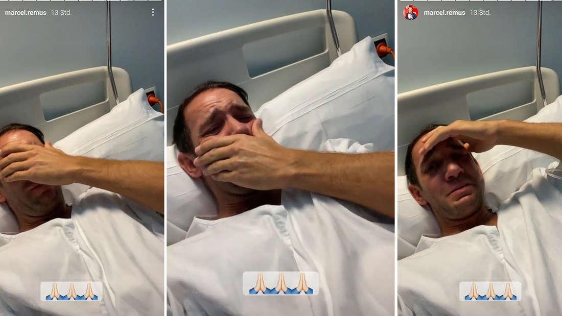 Drei Bilder von Marcel Remus, er weint.