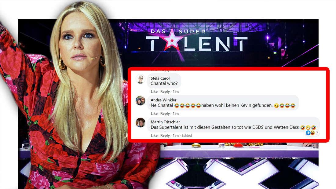"""Fotomontage: Chantal Janzen bei """"Das Supertalent"""" und Screenshot einiger Facebook-Kommentare"""