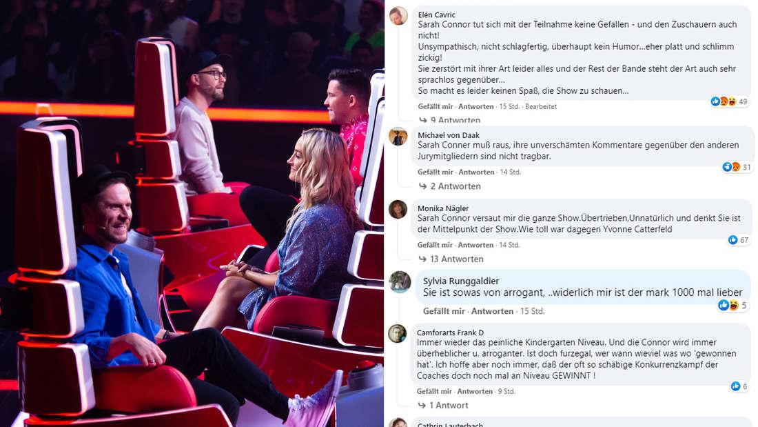 """The Coaches von """"The Voice of Germany"""", unter anderem Mark Forster und Sarah Connor, daneben Facebook-Kommentare (Fotomontage)"""
