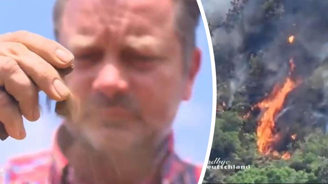 Olaf zeigt trockene Erde, daneben ein Buschbrand.