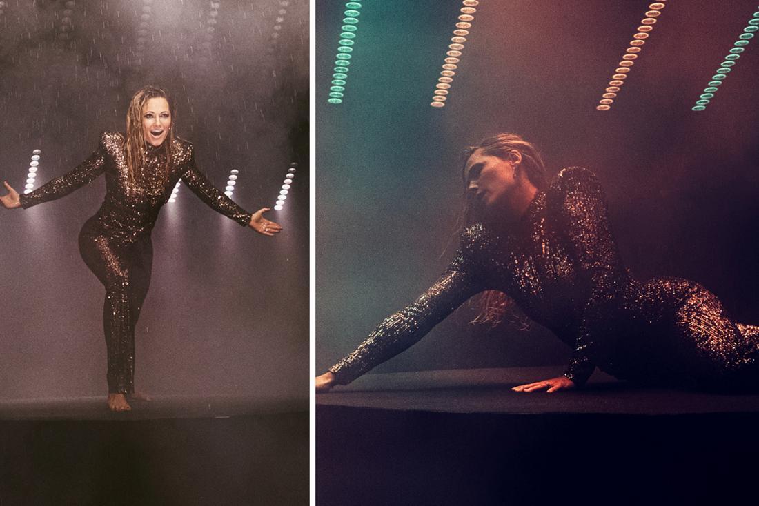Helene Fischer steht auf einem schwarzen Podest. Sie trägt einen schwarzen Pailletten-Jumpsuit und keine Schuhe. Helene Fischer liegt auf einem schwarzen Podest und hat ihren Oberkörper aufgerichtet. Sie trägt ein Pailletten-Jumpsuit. (Fotomontage)