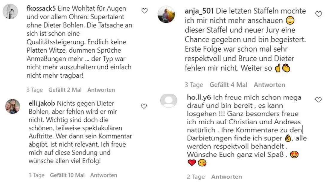 """Instagram-Kommentare zum Ausscheiden von Dieter Bohlen bei """"Das Supertalent"""""""