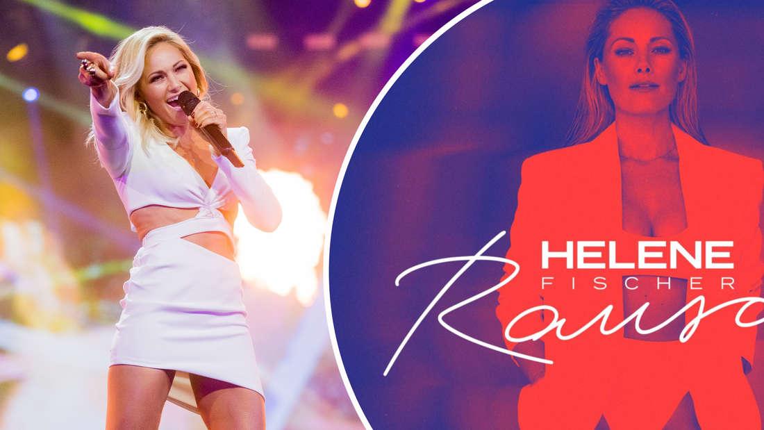 """Helene Fischer steht bei der Aufzeichnung der """"Helene Fischer Show"""" auf der Bühne am 25.12.2018. Das Cover von Helene Fischers Album """"Rausch"""". (Fotomontage)"""