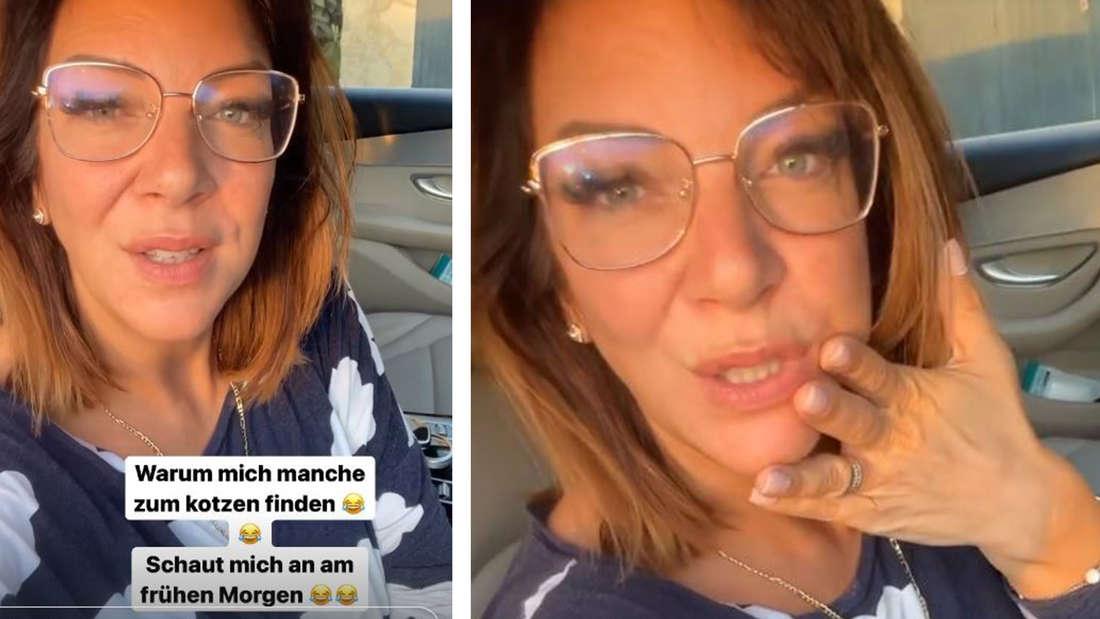 Zwei Bilder von Danni Büchner mit Brille im Pyjama, sie sitzt im Auto