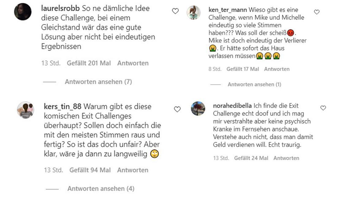 """Instagram-Kommentare zur Exit-Challenge im """"Sommerhaus der Stars"""""""